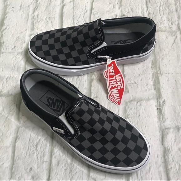 vans classic slip on black pewter check
